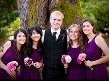 Les jeunes toilettent la position avec ses quatre demoiselles d'honneur par le grand arbre Photographie stock