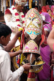 Les jeunes toilettent sur des avances d'un cheval la noce à la maison de jeune mariée dans Pushkar, Inde Images libres de droits