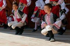 Les jeunesses de Bulgarie montrent une danse folklorique spécifique Images libres de droits