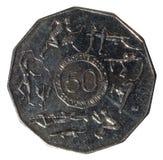 Les jeux 2006 de Commonwealth de Melbourne dix-sept 50 pièces de monnaie australiennes de cents, d'isolement sur le fond blanc image stock