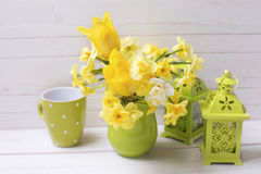 Les jonquilles ou le narcisse jaunes de ressort fleurit dans le broc vert Photographie stock libre de droits