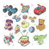 Les jouets d'enfants dirigent des jeux de bande dessinée pour les enfants la salle de jeux et en jouant avec la voiture ou l'ense Images stock