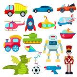 Les jouets d'enfants dirigent l'hélicoptère de jeux de bande dessinée ou embarquent le sous-marin pour des enfants et jouer avec  illustration libre de droits