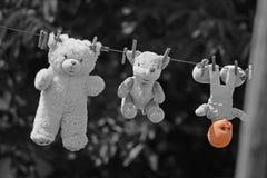 Les jouets du ` s d'enfants de peluche accrochent sur le fil images stock