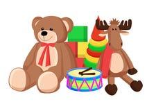 Les jouets ont placé Santa Claus Factory Vector Illustration illustration de vecteur