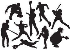 Les joueurs de baseball dirigent l'ensemble illustration libre de droits