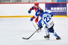 Les joueurs de hockey accomplissent pendant le match d'hockey Image stock