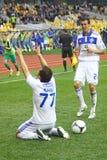 Les joueurs de Kyiv de dynamo de FC célèbrent un but Image stock