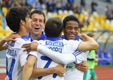 Les joueurs de Kyiv de dynamo de FC célèbrent un but Photos stock