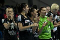 Les joueurs de Pogon Baltica Szczecin célèbre la victoire Image stock