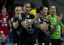 Les joueurs de Pogon Baltica Szczecin célèbre la victoire Images stock