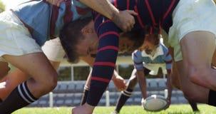Les joueurs de rugby dans la bousculade placent l'essai de défendre la boule 4K 4k banque de vidéos