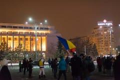 Les 14 jours des protestations contre le gouvernement en Roumanie Image stock