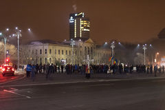 Les 14 jours des protestations contre le gouvernement en Roumanie Image libre de droits