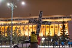 Les 14 jours des protestations contre le gouvernement en Roumanie Photographie stock