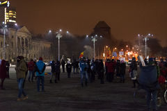 Les 14 jours des protestations contre le gouvernement en Roumanie Photos stock