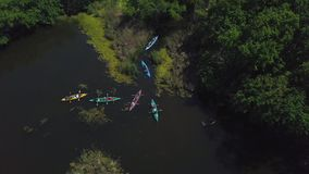 Les kayaks flottent sur la rivière banque de vidéos