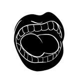 Les lèvres de cri avec les dents et la bande dessinée de langue dirigent l'icône d de symbole illustration libre de droits