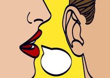 Les lèvres de femme chuchotant dedans équipe l'illustration de vecteur de dessin d'oreille Image libre de droits