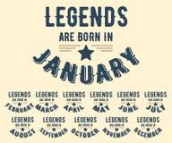 Les légendes sont nées dans le divers timbre de T-shirt de mois illustration libre de droits