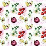 Les légumes d'aquarelle modèlent le persil, avocat, cherr de tomates Image libre de droits