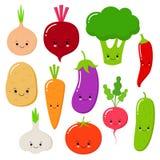 Les légumes de bande dessinée dirigent l'ensemble dans le style plat Oignon, carotte, concombre, paprika, tomate, poivre, brocoli illustration de vecteur