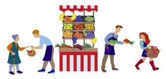 Les légumes des ventes des exploitants produisent sur la stalle dans la conception plate illustration de vecteur