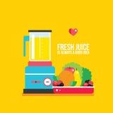 Les légumes fruits organiques de nourriture fraîche verdit du plat et du mélangeur Image stock