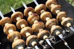 Les légumes, la viande, les champignons et le pain ont grillé à l'enjeu et au BBQ Photo libre de droits