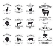 Les labels d'American Shop de boucher conçoivent l'ensemble avec l'autruche, oiseau de dinde, cheval, vache, agneau Calibres grun Image libre de droits