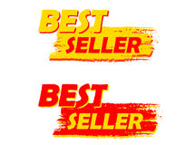 Les labels dessinés de best-seller, jaunes et rouges Photo libre de droits