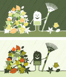 Les lames d'automne ont coloré le dessin animé illustration stock
