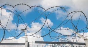 Les lames de rasoir de barbelé dactylographient des militaires sur le ciel bleu Images libres de droits