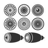 Les lames des turbines du moteur, moteur d'avion silhouette le MOIS Photographie stock