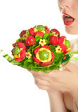 Les languettes de la femme avec la fleur d'isolement sur le blanc Photos libres de droits