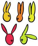 Les lapins de lapins linéaires de vecteur de Pâques dirigent des silhouettes dans des couleurs lumineuses Image stock