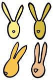 Les lapins de lapins linéaires de vecteur de Pâques dirigent des silhouettes dans des couleurs lumineuses Photos libres de droits