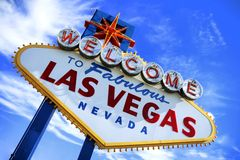 les las signent à la bienvenue de vegas Photo stock