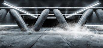 Les lasers au néon fluorescents blancs fument embrument les colonnes vides foncées de Hall Underground Cement Grunge Concrete de  illustration de vecteur