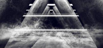 Les lasers au n?on fluorescents blancs fument embrument les colonnes vides fonc?es de Hall Underground Cement Grunge Concrete de  illustration libre de droits