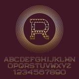 Les lettres étoilées et les nombres d'or avec R parafent le monogramme Photographie stock libre de droits