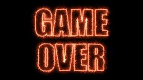 Les lettres brûlantes du jeu au-dessus du texte sur le noir, 3d rendent le fond, ordinateur se produisant pour le jeu Images stock