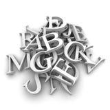 Les lettres d'alphabet ont plu à torrents dedans un segment de mémoire Images stock