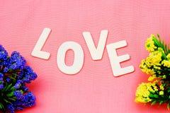 Les lettres en bois expriment le ` d'AMOUR de ` sur le fond rose avec le style de vintage Image stock