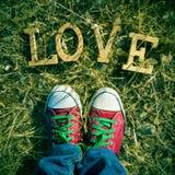Les lettres en bois formant le mot aiment sur l'herbe, avec un filtre Photos libres de droits