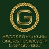 Les lettres et les nombres à deux lignes d'or avec G parafent le monogramme Image libre de droits