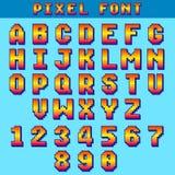 Les lettres et les nombres de bit du pixel 8 dirigent la police de jeu, alphabet numérique, oeil d'un caractère illustration stock