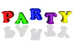 Les lettres gonflées par ballon font la fête 3d primaire coloré Image stock