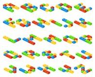 Les lettres isométriques d'alphabet du vecteur 3D faites de plastique cube le constructeur Images libres de droits