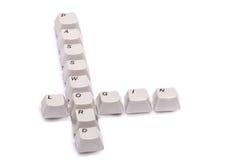 Les lettres rassemblées des boutons de clavier numérique d'ordinateur ouvrent une session le mot de passe d'isolement Images libres de droits